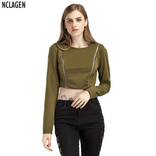 NCLAGEN Women Fashion Casual Regular Fit Green Hoodies Sweatshirt Sexy 2 Zippers Crop Top Spring Autumn Pullover Short Tracksuit(China)