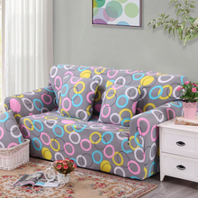 Elastic couch arm chair loveseat Chaise three seater Sectional corner sofa cover Circle pattern(China)