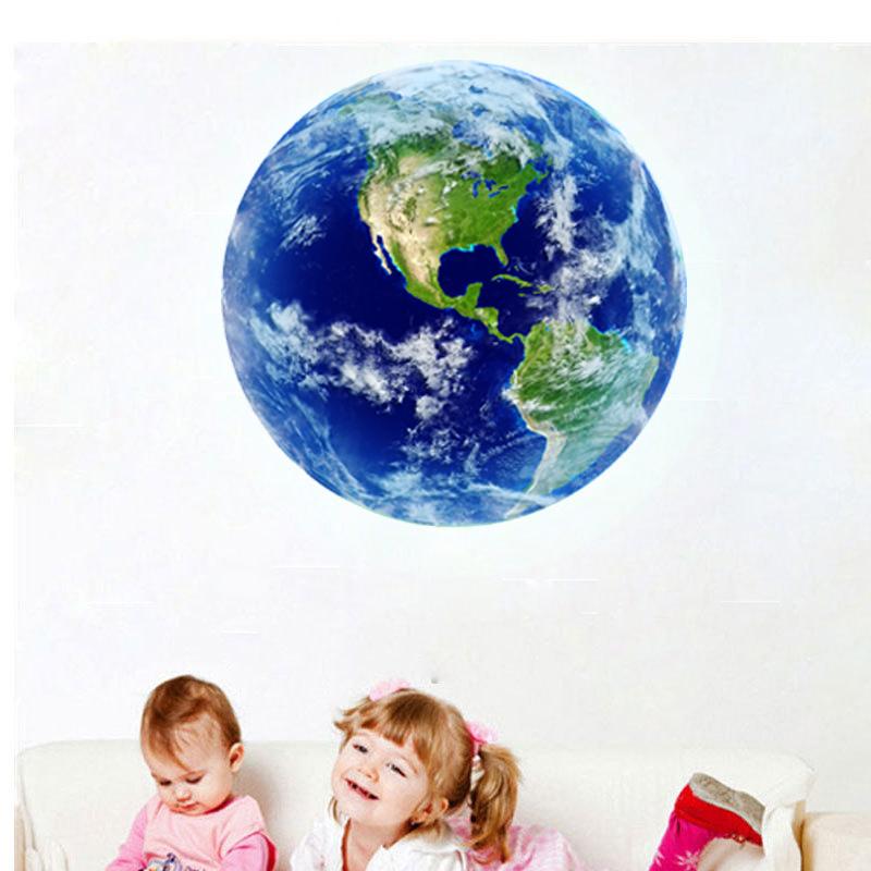 HTB1WP67RVXXXXXWXXXXq6xXFXXXU - Hot sale 1PCS new Luminous blue earth Cartoon DIY 3d Wall Stickers for kids rooms bedroom wall sticker Home decor Living Room