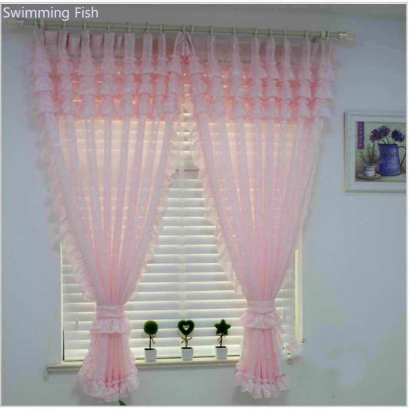 Rustic Purple Pink Lace Sheer Curtain Window Screening for Children Princess Bedroom Jacquard Tulle Blind with Scollop Lace