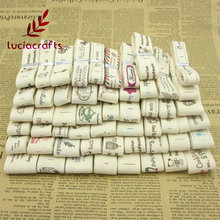 "Lucia Crafts Multi Size ""Hand made"" Design Printed Cotton Ribbons Fabric DIY Trim Sewing Labels Handcraft Accessories 040056110(China)"