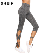SHEIN Women Pants Trousers for Ladies Fitness Plain Light Grey High Waist Crisscross Tie Fitness Elastic Leggings(China)