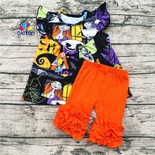 AICTON Boutique Ruffles Clothes Set Baby Halloween Flutter Top Pearl Shirts And Shorts Outfits Kids