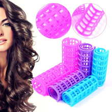 Plastic Hair Rollers Hair Curlers DIY Hair Salon Curlers Rollers Tool Soft Large Hairdressing Tools 6/8/10/12pcs M03143(China)