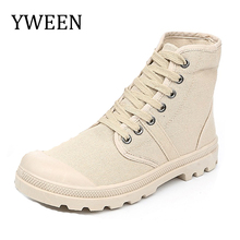 Buy YWEEN 2018 Spring Autumn Lace-up Fashion Men's Army Boots man Casual Canvas shoes Male High shoe for $22.30 in AliExpress store