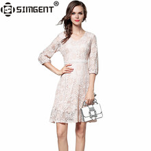 Buy Simgent Autumn Spring Women's Office Work Elegant Hollow Lace Dresses Clothes Women Vestidos Robe Femme Jurken SG79192 for $25.37 in AliExpress store