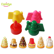 Delidge 4 pcs/set Christmas And Animal Cake Molds Plastic Candy Color Tree Snowman Bird Rabbit Shape Cookie Cutter Molds(China)