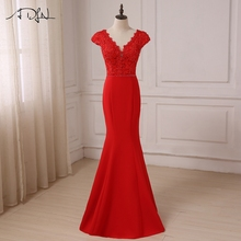 ADLN Cheap Red Mermaid Evening Dresses Sexy Cap Sleeve Top Lace Covered Beaded Formal Party Gowns Vestidos de Fiesta