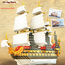 Large Hot 3000pcs ship Model Building Kits ho scale sailboat toy for adult boy girl Small block educational building blocks toy(China)