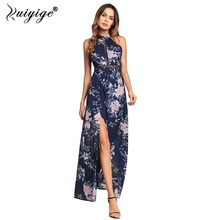 Buy Ruiyige 2018 Women Floral Print Halter Chiffon Long Dress Sexy Split Backless Summer Hollow Party Boho Maxi Beach Vestidos