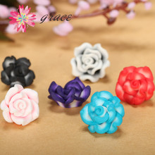 25pc/lot 15mm Fimo Handmade Making Polymer Clay Rose Flower Beads Diy Part Floral Bracelet Earrings Hair Jewelry Decor Accessory(China)