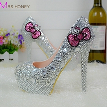Hello Kitty Silver Rhinestone Bridal Wedding Shoes Graudation Party Prom High Heel Shoes Formal Dress Pumps Plus Size 45