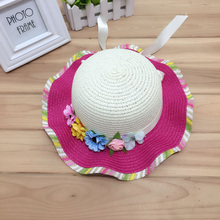 1 Pcs 2017 New Summer The Flower Bow Children Sun Hat Shade Straw Hat For Girl Multicolor Free Shipping