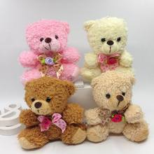 Bulk 10cm x 12pcs Cute Curly Plush Jointed Bear With Diamond Bow Soft Toys Stuffed Dolls For Key/Flower Bouquet 4color