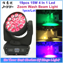 Cheap RGBW 19pcs 15W 4 In 1 Led Zoom Wash Beam LED Moving Head Light Full Color Led Zoom Wash Moving Head Beam Light For Disco(China)