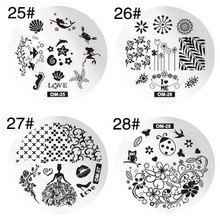 1 Pc Round Stainless Steel Nail Stamping Template Floral Heart English Words Gear Nail Image Stamp Plate DIY Nail Art Tools
