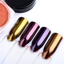 2g/box Nail Glitter Rose Gold Purple Mirror Chrome Powder Dust Shiny Magic Mirror Effect Nails Art Pigment DIY Nail Decorations(China)