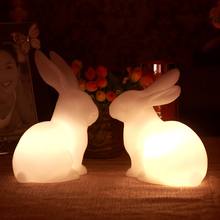 2pc/lot Flickring Rabbit Shape Led Candle White light Flameless Wax home birthday Decoration Home pillar candles for weddings(China)