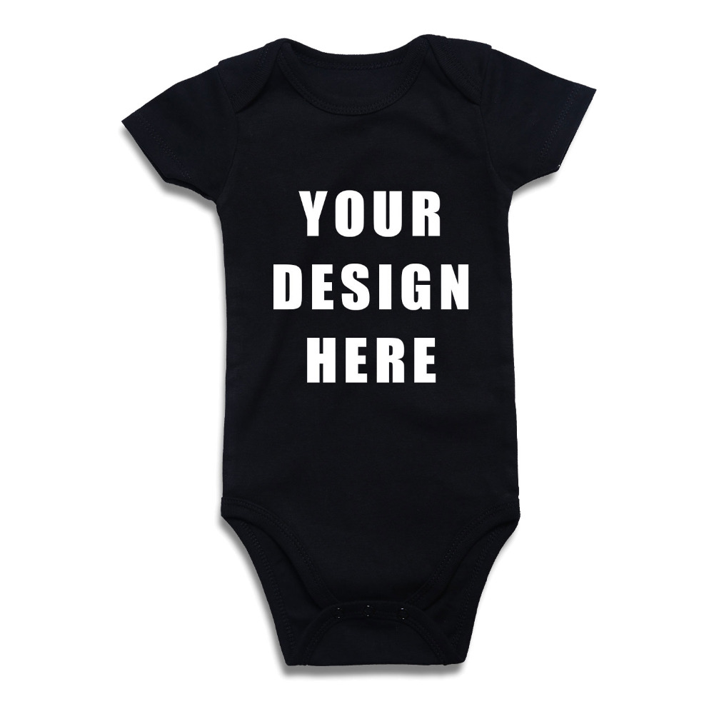 Newborn Baby Boy Girl Bodysuit Custom Printed One Piece Outfits Jumpsuit Cotton Children Clothing Solid Black White Red Clothes(China)