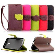 Fashion Leaf Wallet With Stand Flip PU Leather sFor Motorola Moto G2 Case For Motorola Moto G2 Cell Phone Case Cover