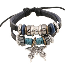 Fashion Punk Jewelry Beaded Genuine Leather Bracelet Leather Cuff Wrap Adjustable Wristband with Large Butterfly Pendant