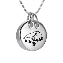 IJD9941 Cute Sleeping Dog Stainless Steel Pet Memorial Urn Pendant Silver/Rose Gold/Gold/Black Dog Cremation Ashes Urn Necklace(China)