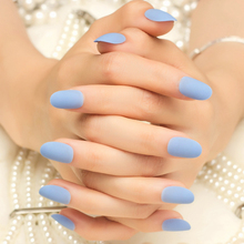 New Arrival 24pcs Solid Blue Scrub Fake Nails Short Round Head Full Cover Nails Tips with 1pc Glue Sticker