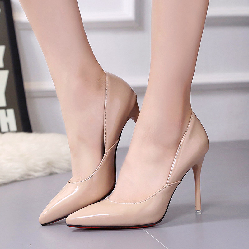 Kjstyrak 2017 brand designer red bottom super heels women wedding pumps patent leather pointed toe ladies shoes