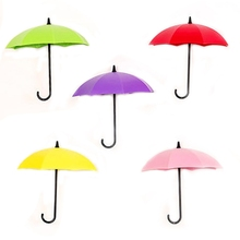 3Pcs Umbrella Design Multicolor Sticky Hook Wall Decor Random Color Free Shipping ASLT
