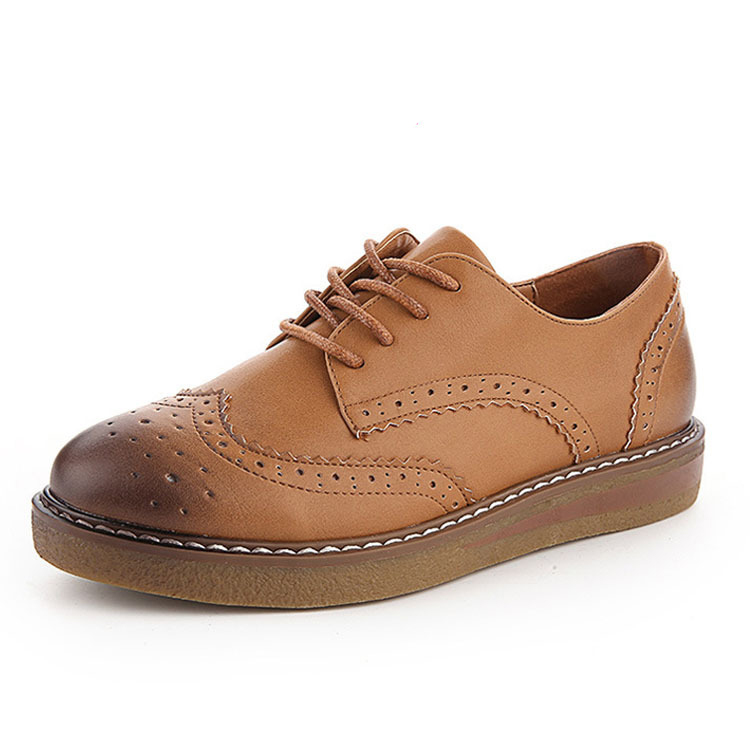 Fashion 2016 Womens Oxfords Shoes Lace Up Vintage Hollow Leather Oxfords for Women Casual Comfort Ladies Flats Loafers Shoes<br><br>Aliexpress