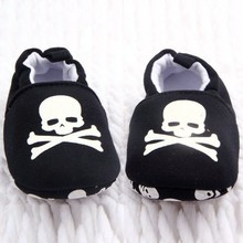 Newest Prewalker Infant Baby Unisex Skull/Pirate Print Cotton Soft Bottom Shoes(China)