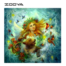 ZOOYA DIY 3D Diamond Painting Beautiful Angel Abstract Oil Crystal Art Craft Handmade Diamond Embroidery CrossStitch Cheap AT197