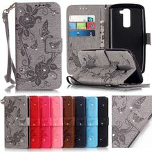 Coque LG k7 Case Leather Wallet Phone Case LG K7 Cover Flip Luxury 3D Cute Butterfly Embossed Diamond Bling Mobile Phone Case(China)