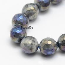 "Electroplate Natural Labradorite Beads Strands, Round, Faceted, 8mm, Hole: 1mm; about 48pcs/strand, 15.5""(China)"
