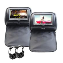 2 DVD/USB/SD Car Headrest Monitors LCD Display Digital Screen Double Headrest Pillowa + 2 Video Game Controllers+2 IR Headphones