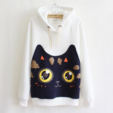 2016 autumn/winter casual sweatshirts for women high quality cartoon kitty printed patch hooded sweatshirts 3 colors