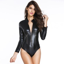 Buy women latex bodysuit sexy lingerie Sexy black leather jumpsuit lingerie sexy hot erotic bodysuit plus lingerie sexy lingerie