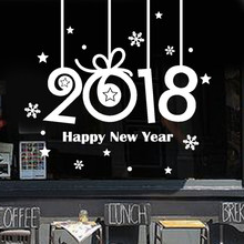 2018 New Happy New Year Merry Christmas Wall Sticker Home Shop Windows vinyl stickers wall decor papel de parede para quarto(China)