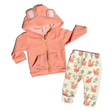0-2 Years Baby Boy Girl clothes Autumn Newborn Baby Coat Long Sleeve Hooded Cotton Fox Pants Infant Clothing Set 2 Piece Set J02(China)