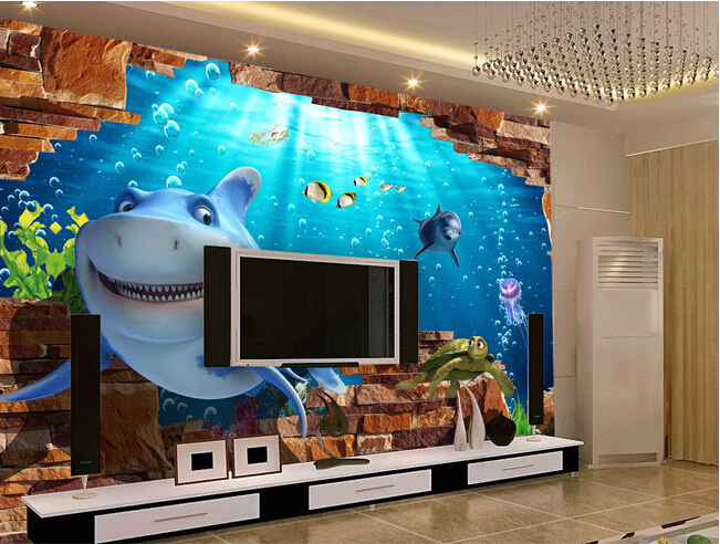 Custom papel de parede Infantil , dolphin murals for the childrens bedroom girls room background wall textile cloth wallpaper <br><br>Aliexpress