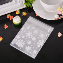 100PCs Snowflake Food Cookie Packaging Bags Self-adhesive Plastic Bags Gift Bag Wedding Favor Christmas Decoration 2 Size