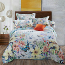100% Cotton soft satin Silky Bedding sets Flower and butterfly Duvet cover set Bed sheet Pillowcases King Queen size 4Pcs(China)