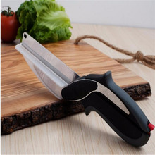 2 in 1 Kitchen Knife and Cutting Board Scissors Clever Cutter Kitchen Food Cutter for Meat Vegetable Kitchen Knife(China)