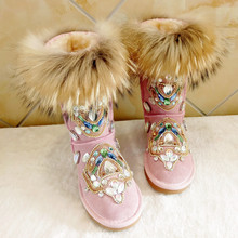 Real Fox fur Fur Winter Boots Rhinestones Diamond Fashion Snow Boots Thick Warm High-Top Women Shoes Large Size 35-44