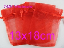 OMH wholesale 13x18cm 100pcs big red color Jewelry festival wedding Christmas voile organza Packaging gift bags BZ09-5
