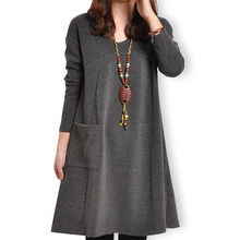Autumn Winter Fashion Korean Style Women Casual Dress Long Sleeve With Pockets Big Size Bottom Dress(China)
