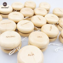 Let's make 2pcs Children Creative Toy Wooden Yoyo Ball DIY Personalise Names And Patterns Kids Drum-shaped Yoyo Ball Blocks