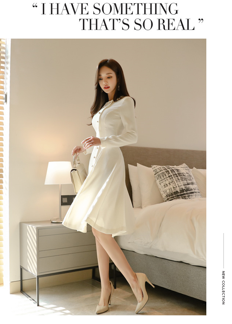 Elegant Dress Women Casual Long Sleeve Dress Office Lady Runway Designers High Fashion Dress 9