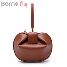 BERNO FLY Brand 2017 Cute Women Handbag Genuine cow leather Hobos women bag Fashion Lady Hasp Small bag Vintage top-handle bag(China)
