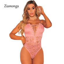 Ziamonga Deep V Lace Bodysuit Women Sexy Catsuit Sleeveless Fitness Summer Jumpsuit Backless Leotard Bodies One Piece Sleepwear(China)
